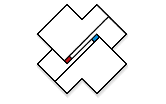 Rod Neer: X-Diagonal-Red-Blue, in the style of Mondrian