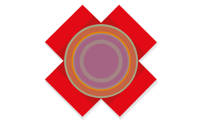 Rod Neer: X-Circle-2, in red, in the style of Kenneth Noland